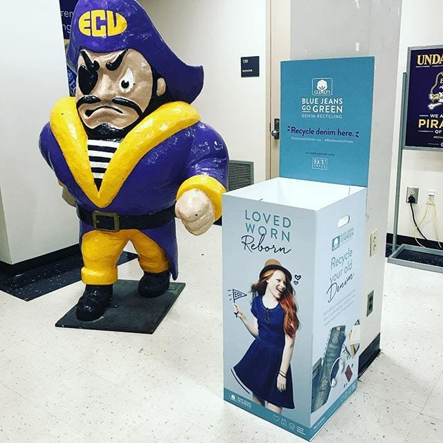 We now have a bin right outside of @ecudowdy! Just find PeeDee the pirate and drop off your denim! One item can make a huge impact. 🌎 • • •